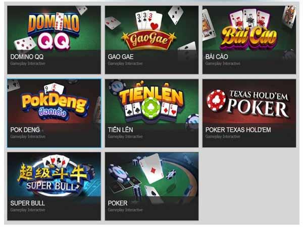 Nhiều loại hình đánh bài để được đổi thưởng