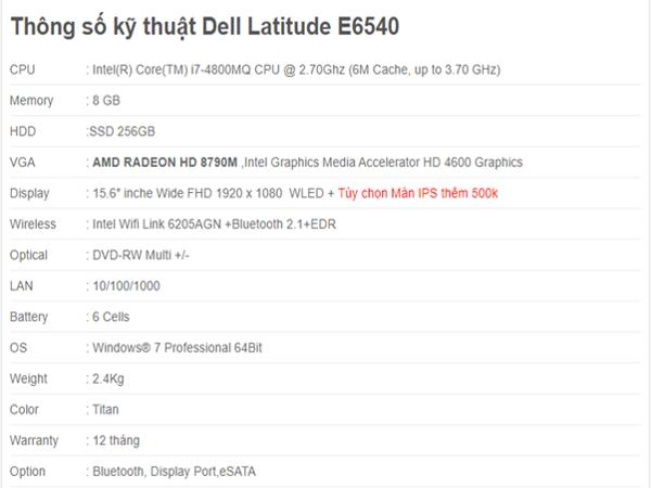 Thông số kỹ thuật Dell Latitude E6540 - 15.6 inch