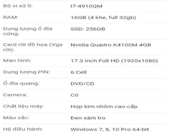 Cấu hình HP Zbook 17 G2